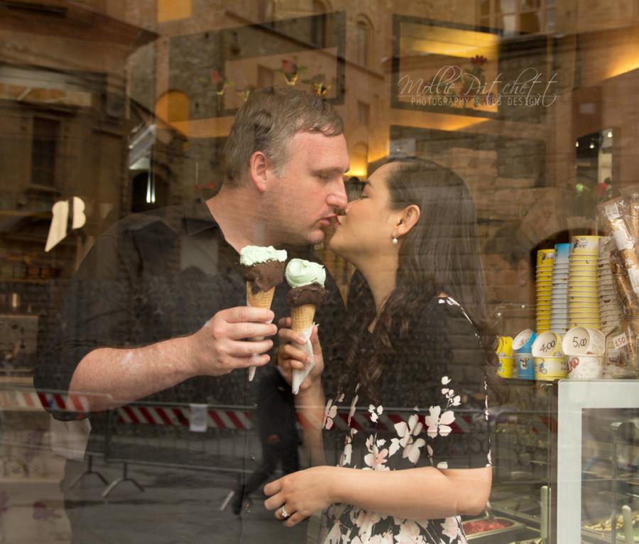 Honeymoon Photo Shoot in Florence Italy eating gelato