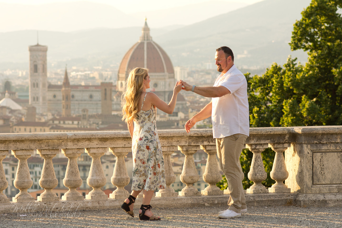 Anniversary Photoshoot near Piazzale Michelangelo Florence, Italy