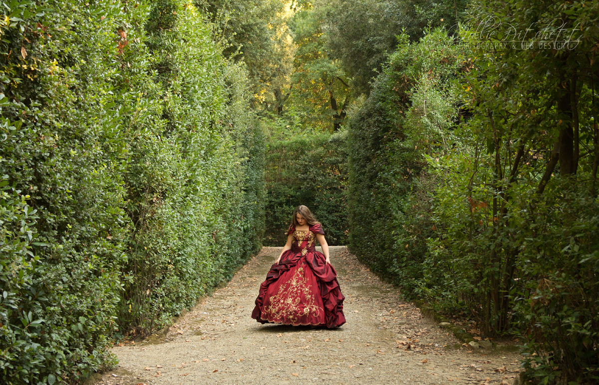 Beautiful Girl in Boboli Gardens